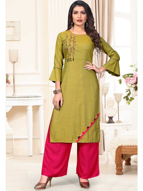 Green Colour Readymade Kurti.