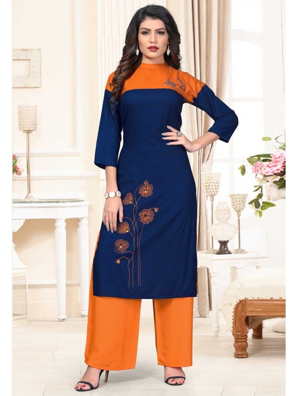 Blue Colour Casual Kurti.