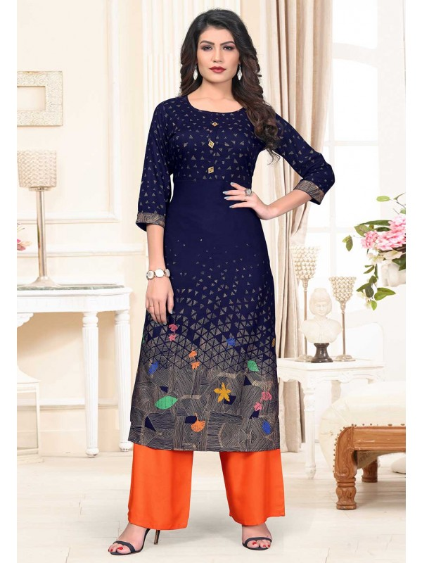 Blue Colour Cotton Readymade Kurti.