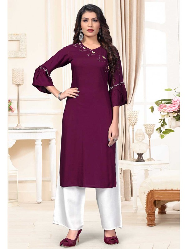 Party Wear Kurti Purple Colour.