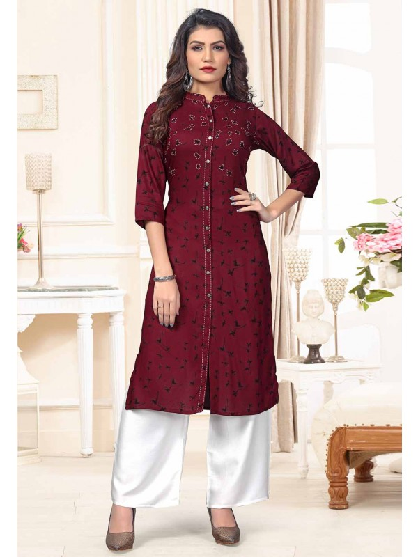 Purple Colour Cotton Designer Kurti.