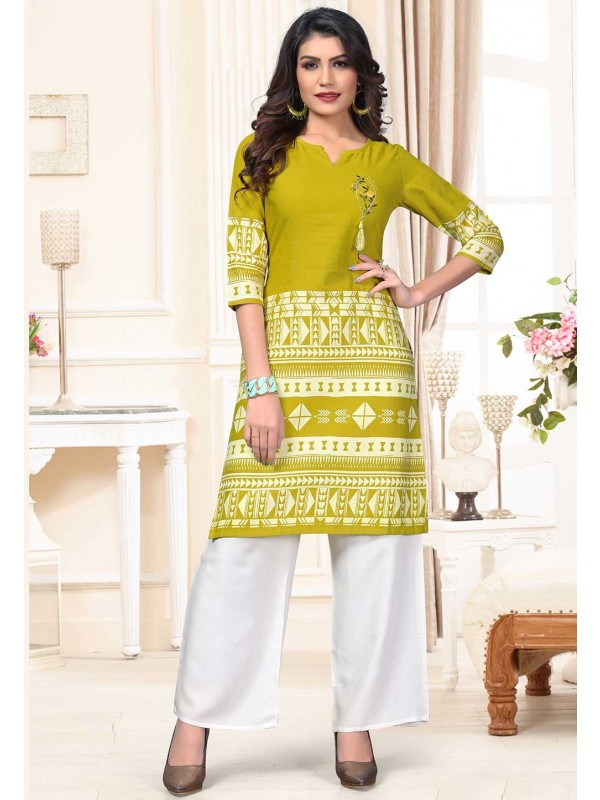 Green Colour Printed Kurti.