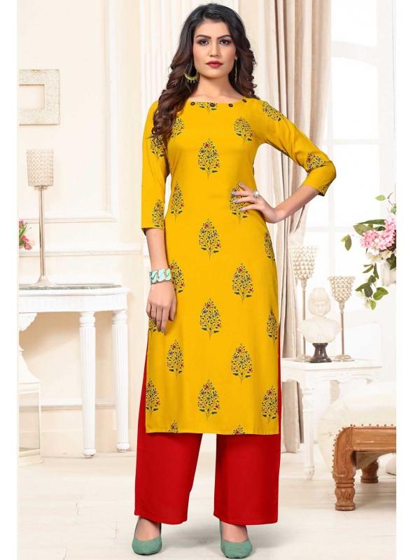 Yellow Colour Designer Party Wear Kurti.