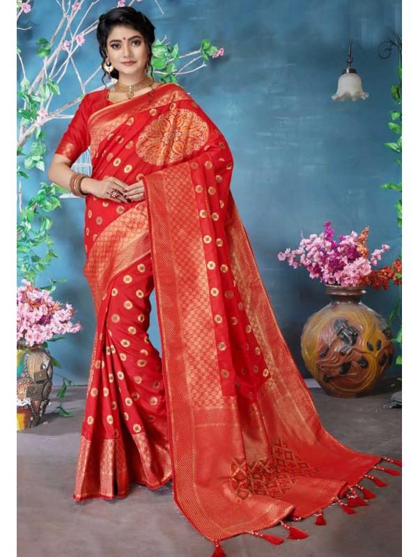 Designer Saree Red Colour.