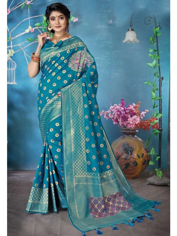Blue Colour Banarasi Silk Sari.
