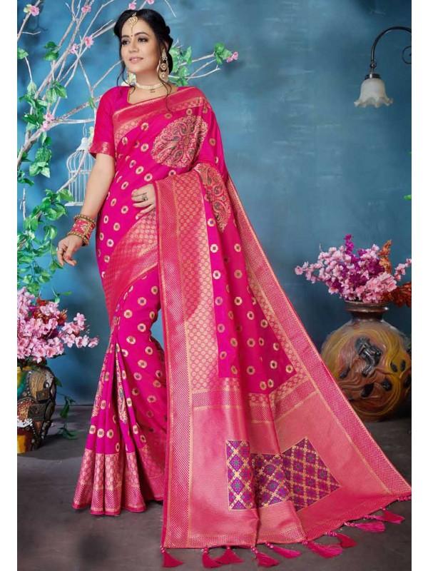 Pink Colour Weaving Silk Sari.