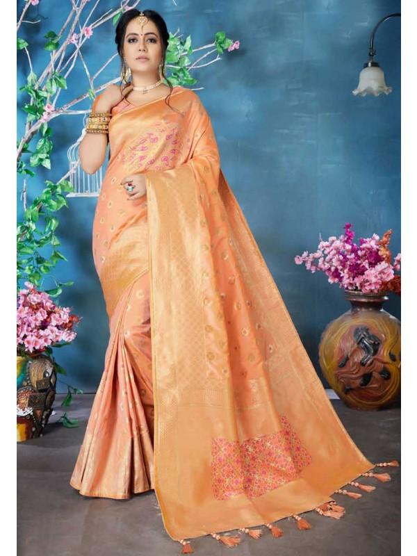 Peach Colour Silk Traditional Sari.