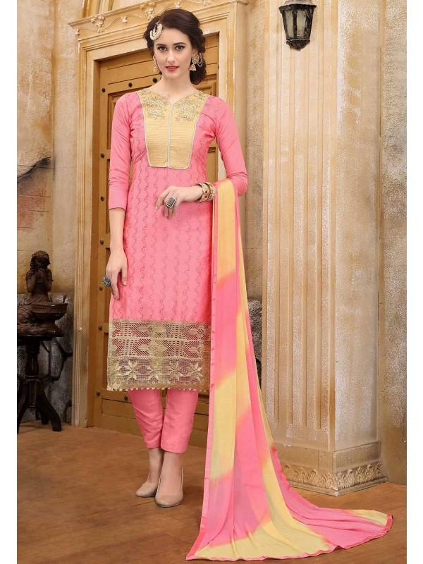 Peach Colour Cotton Salwar Suit.