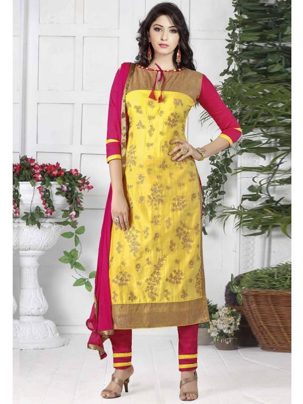 Yellow Colour Cotton Designer Salwar Suit.