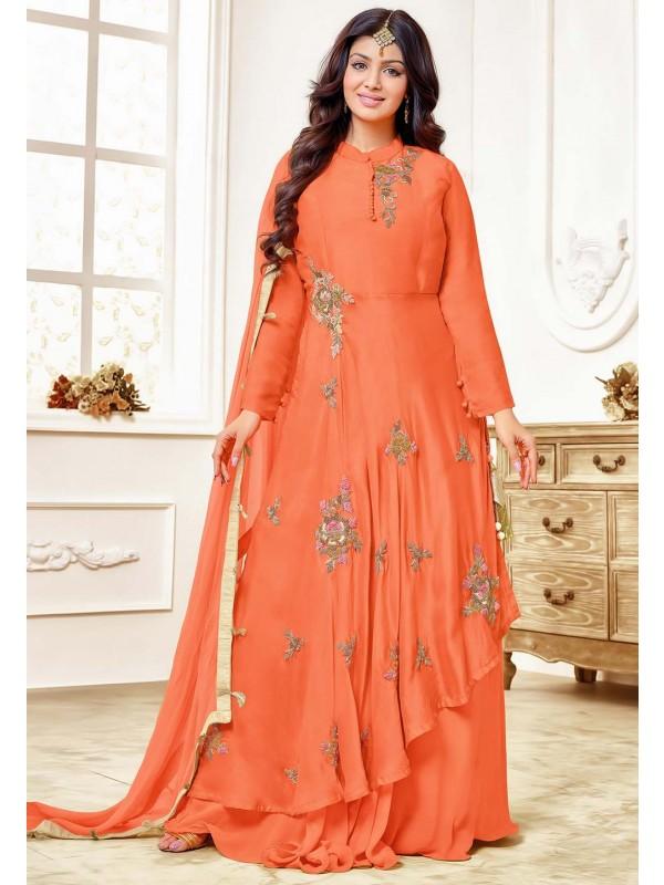 Orange Colour Party Wear Salwar Suit.