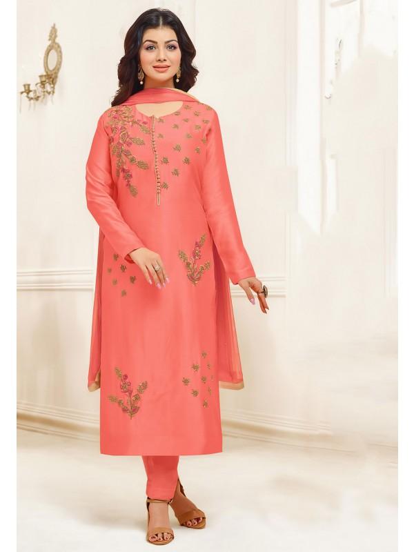Rust Colour Cotton Salwar Suit.