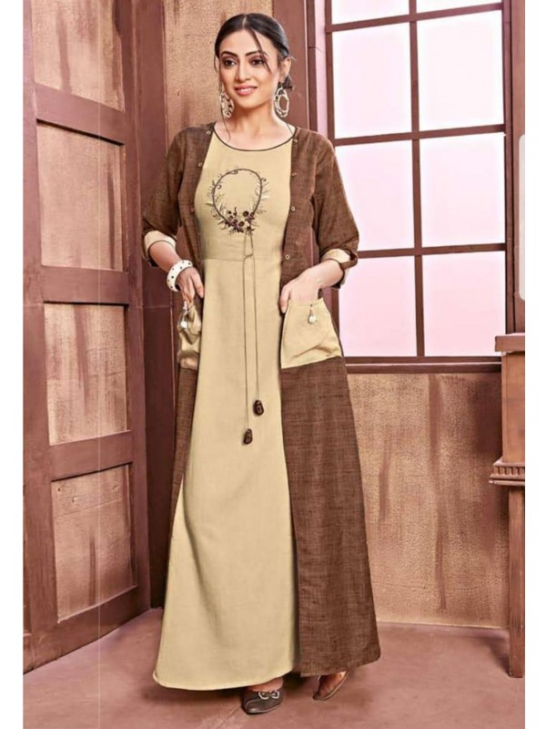 Beige,Brown Colour Women's Kurti.