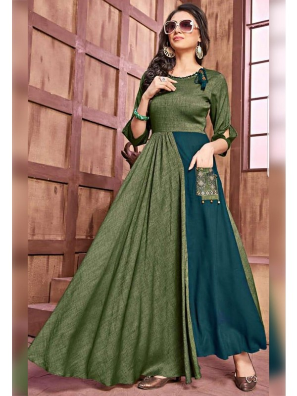 Green Colour Designer Kurti.