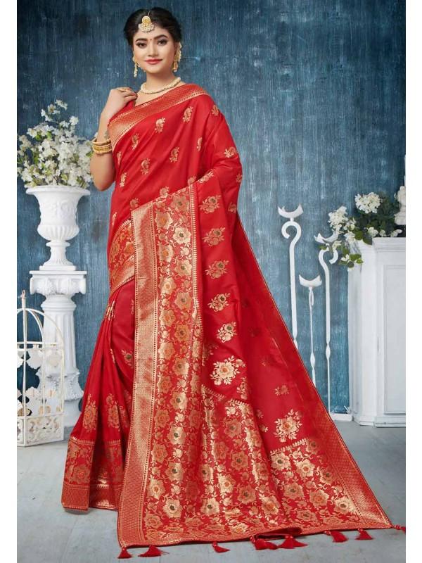 Red Colour Weaving Saree.