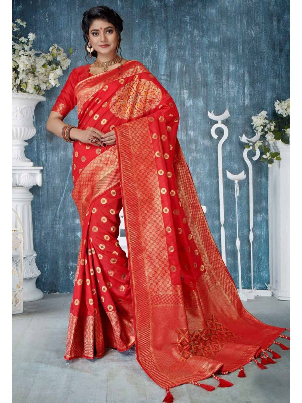 Red Colour Banarasi Silk Saree.