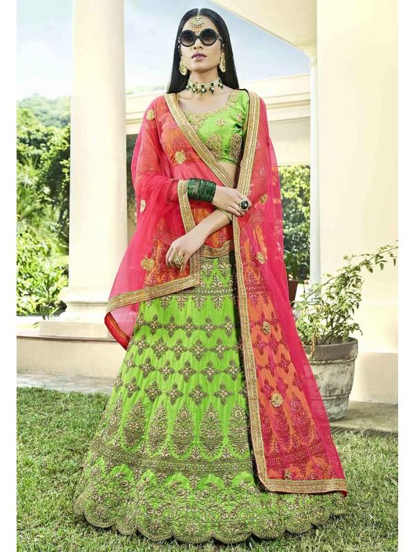 Green Colour Designer Lehenga Choli.