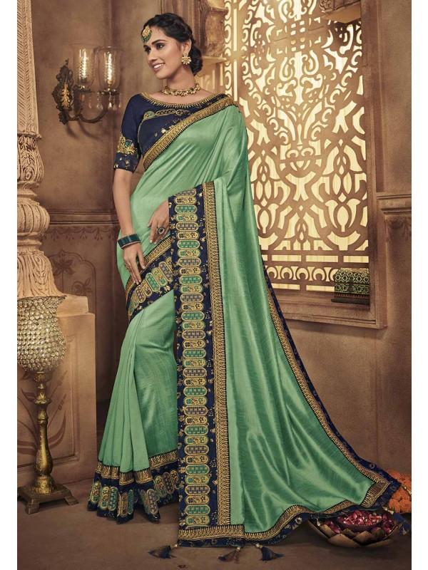 Green Colour Indian Silk Saree.