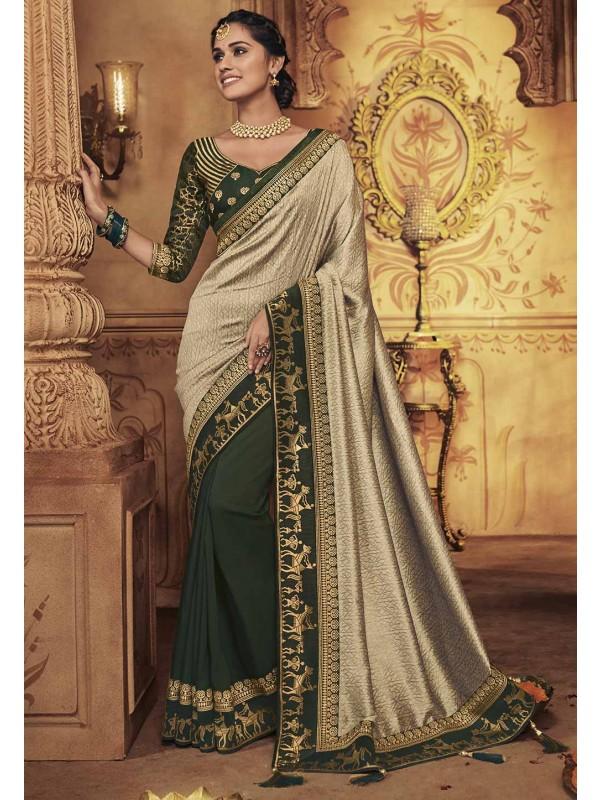 Beige,Green Colour Party Wear Saree.