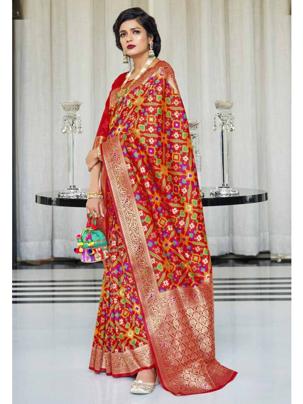 Red Colour Designer Silk Sari.