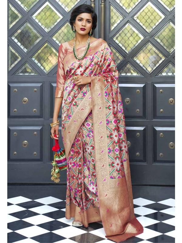 Light Pink Colour Weaving Saree.