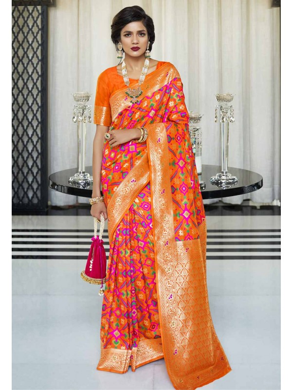 Orange Colour Silk Weaving Saree.
