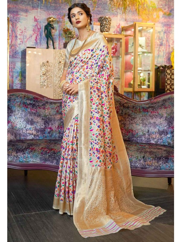Off White Colour Indian Saree.