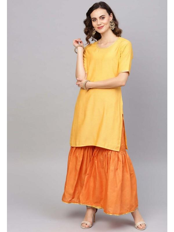 Yellow Colour Cotton Kurti.