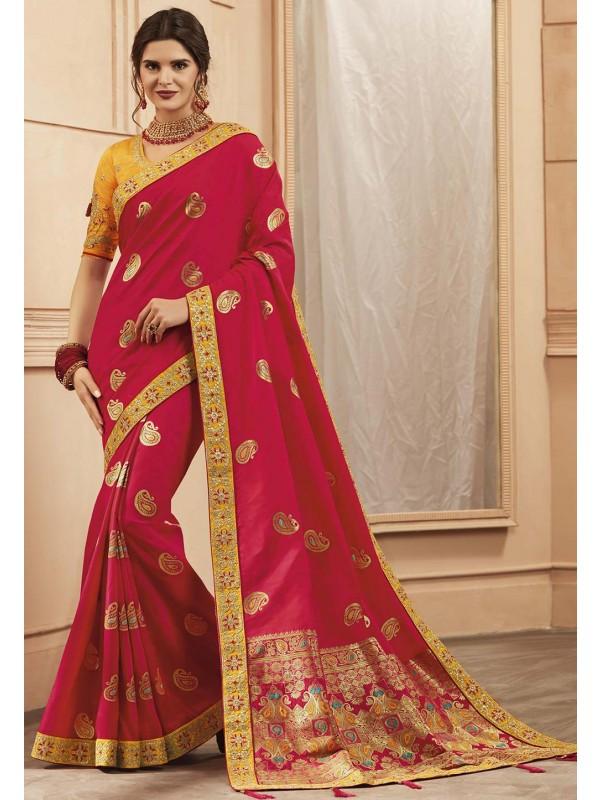 Red Colour Indian Wedding Saree.