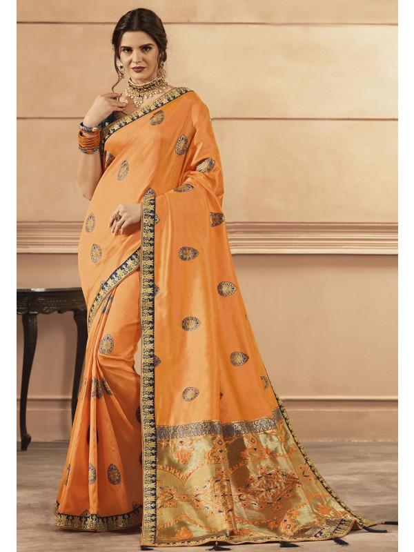 Orange Colour Banarasi Silk Saree.
