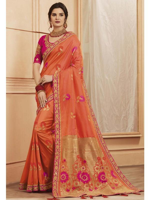 Peach Colour Silk Saree.