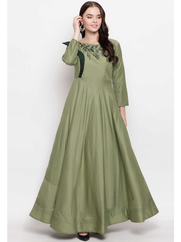Green Colour Anarkali Style Cotton Kurti.