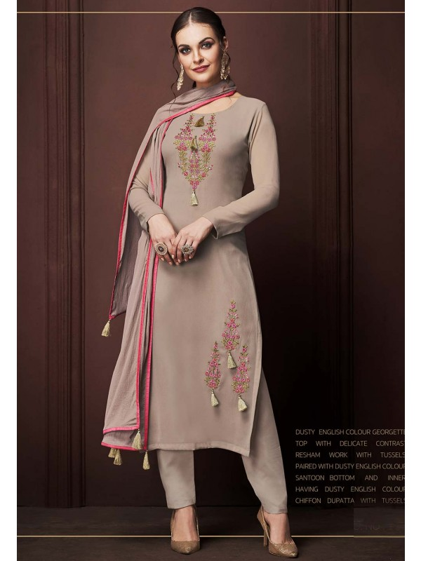 Rust Colour Georgette Salwar Kameez.