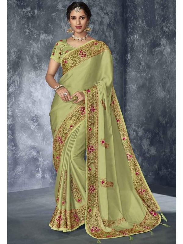 Indian Traditional Saree Pista Green Colour.