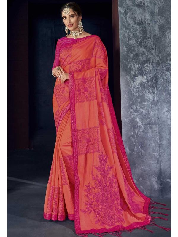 Pink,Red Colour Silk Saree.