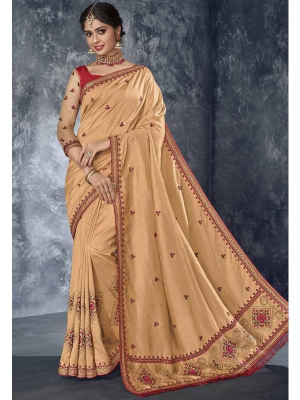 Cream Colour Women Sari.