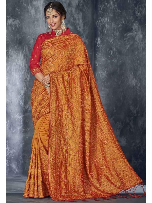 Orange Colour Indian Traditional Saree.