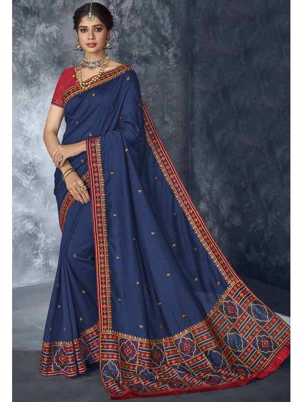 Blue Colour Party Wear Silk Sari.