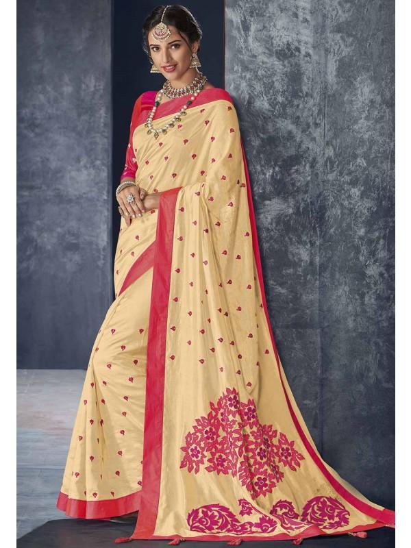 Cream Colour Embroidered Saree.