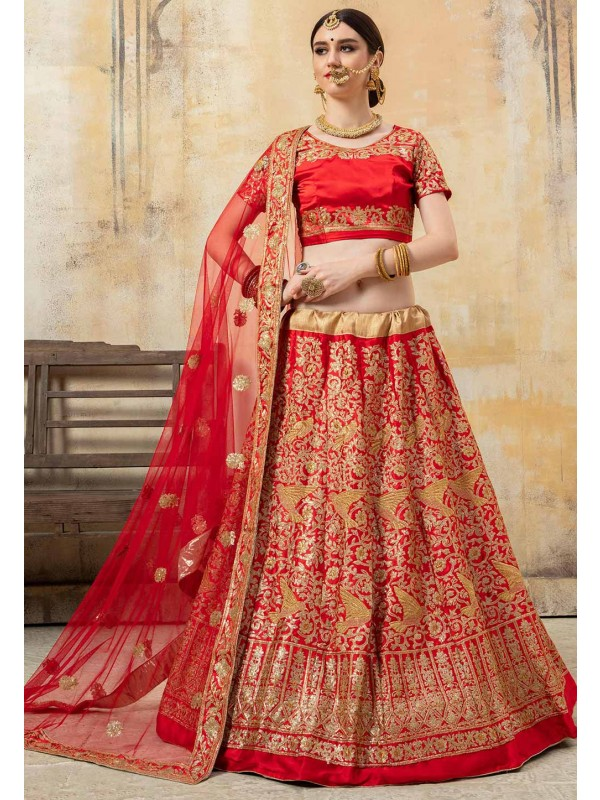 Red Colour Designer Lehenga Choli.