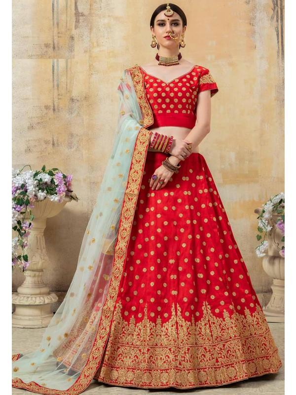 Designer Wedding Lehenga Choli Red Colour.