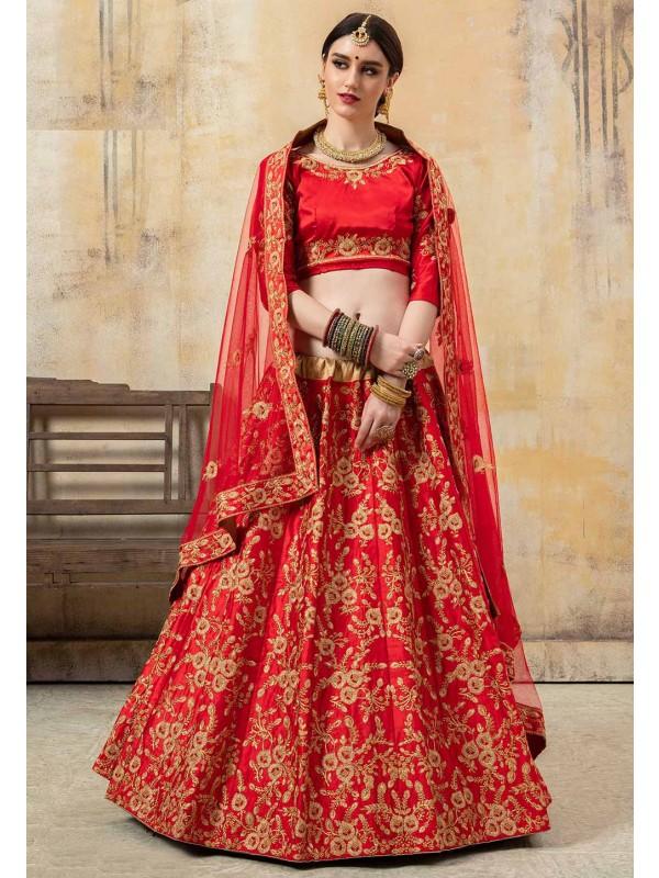 Indian Wedding Lehenga Choli Red Colour.