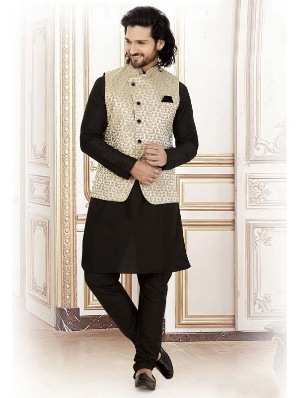 Black,Grey Colour Jacquard Kurta Pajama.
