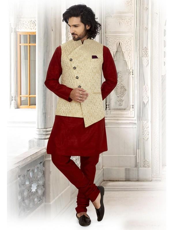 Maroon,Golden Colour Indian Kurta Pajama.