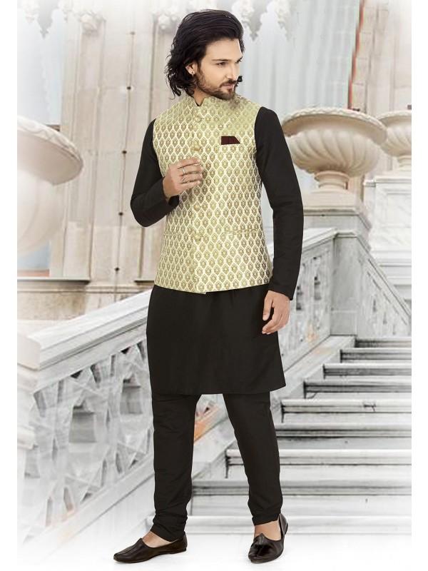 Party Wear Kurta Pajama Black,Golden Colour.