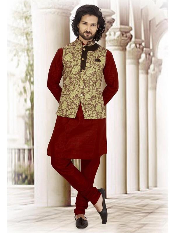 Maroon,Green Colour Jacquard Kurta Pajama Jacket.