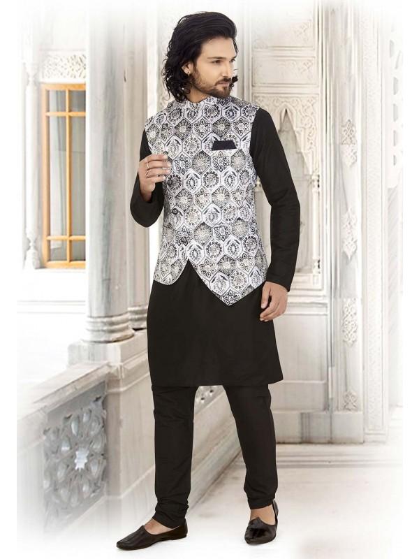 Black,White Colour Cotton Readymade Kurta Pajama.