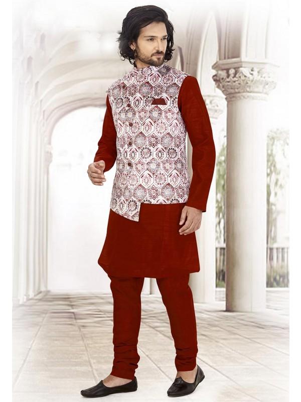 Maroon,White Colour Printed Kurta Pajama.