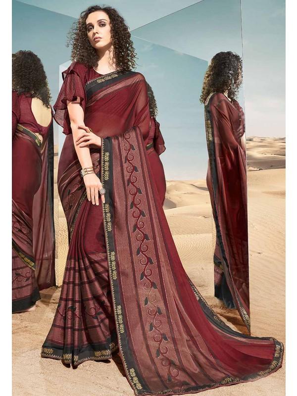 Maroon Colour Printed Saree.