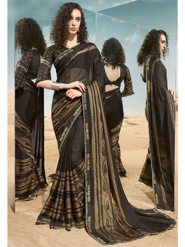 Black Colour Foil Printed Saree.