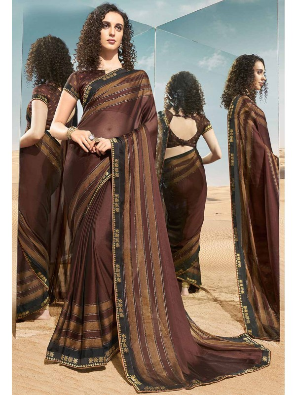 Printed Saree Brown Colour.